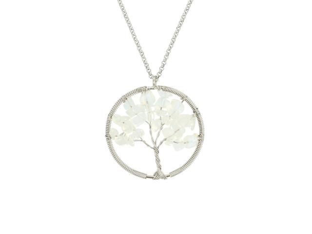 Oceľový náhrdelník s príveskom strom života - opalit
