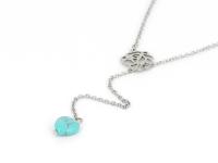 Oceľový náhrdelník s príveskom tyrkenit v tvare srdca