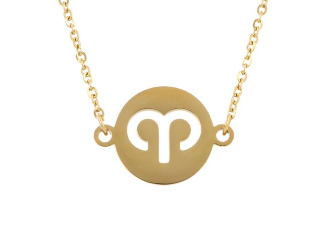Oceľový náhrdelník - baran - zlatý