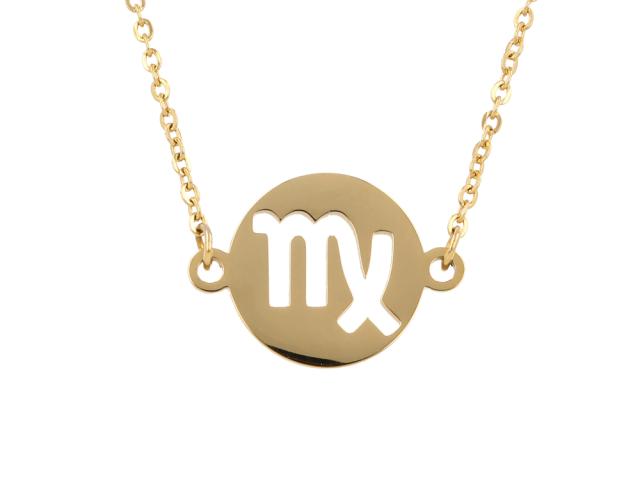 Oceľový náhrdelník - panna - zlatý