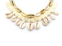 Choker náhrdelník natural a zlatá mušľa Kauri