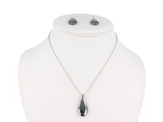 Oceľová súprava náhrdelník a náušnice hematit v tvare kvapky