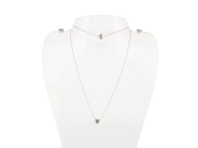Oceľová súprava náhrdelník, náramok a náušnice - srdiečka