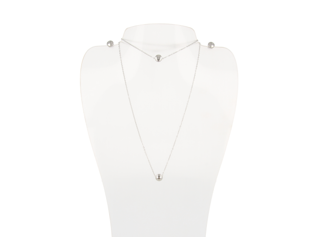 Oceľová súprava náhrdelník, náramok a náušnice - gombíky