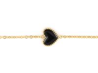 Oceľová súprava náhrdelník, náramok a náušnice - čierne srdcia - zlatá