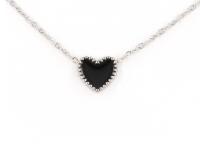 Oceľová súprava náhrdelník, náramok a náušnice - čierne srdcia
