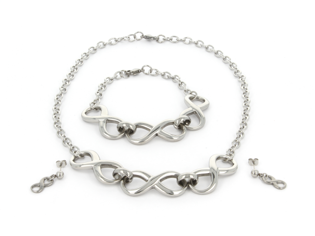 Oceľová súprava náhrdelník, náramok a náušnice Infinity