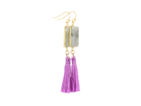 Náušnice labradorit s fialovým strapcom