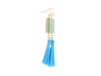 Náušnice amazonit s modrým strapcom