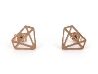 Oceľové náušnice Diamond - ružovo-zlaté