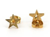 Oceľové náušnice Star - zlaté