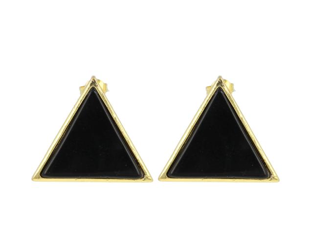 Náušnice čierny achát - tvar trojuholník