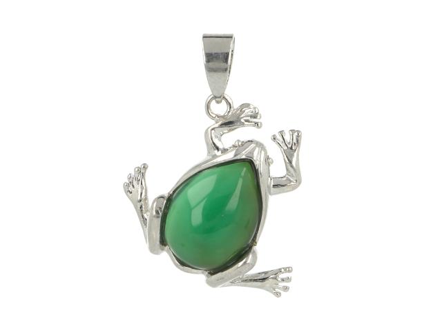 Prívesok zelený achát - žabka