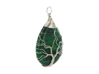 Drôtovaný prívesok strom života - malachit
