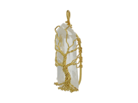 Drôtovaný prívesok zlatý strom života - krištáľ