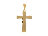 Oceľový prívesok kríž - zlatý