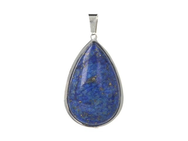 Oceľový prívesok lapis lazuli v tvare slzy