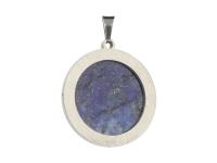 Oceľový prívesok lapis lazuli - pologuľa