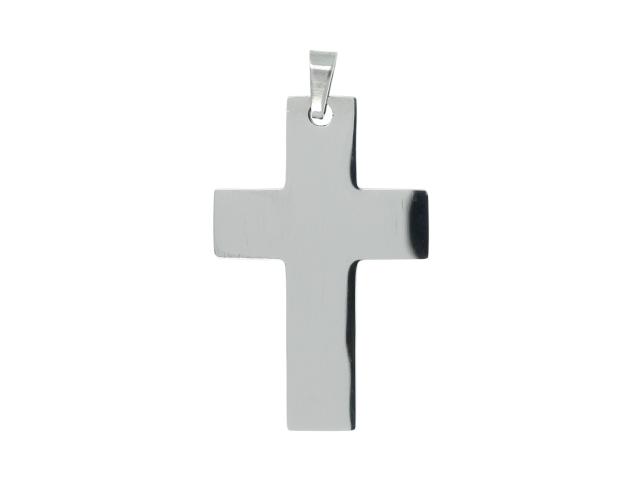 Oceľový prívesok plochý kríž II