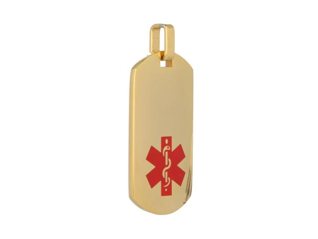 Oceľový podlhovastý ID prívesok Medical - zlatý