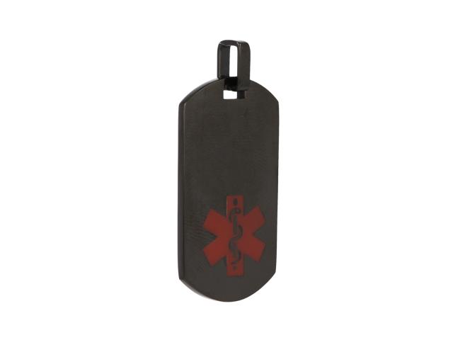 Oceľový podlhovastý ID prívesok Medical - gunmetal
