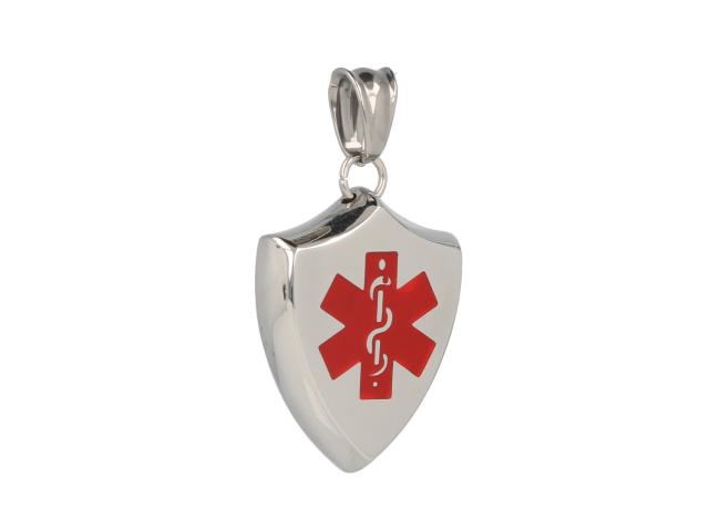 Oceľový ID prívesok Medical v tvare štítu