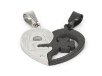 Oceľový dvojprívesok - srdce a kľúč - strieborný a gunmetal