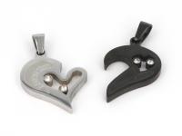 Oceľový dvojprívesok - prepojené srdcia - strieborný a gunmetal