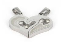 Oceľový dvojprívesok - prepojené srdcia