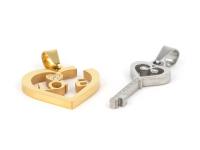 Oceľový dvojprívesok - kľúč k srdcu - strieborný a zlatý