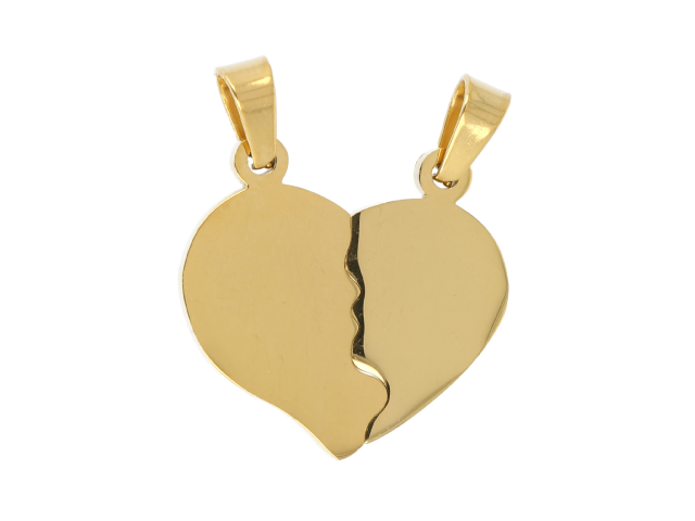 Oceľový dvojprívesok - srdce - zlatý