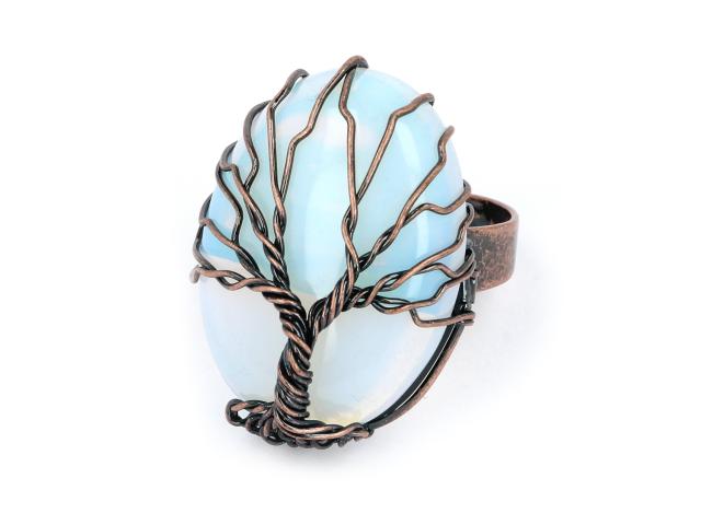 Nastaviteľný drôtovaný prsteň opalit a strom života
