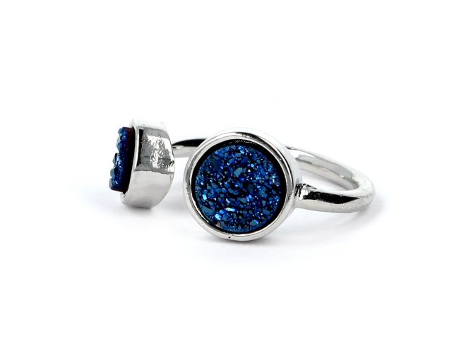 Prsteň kryštalizovaný modrý achát