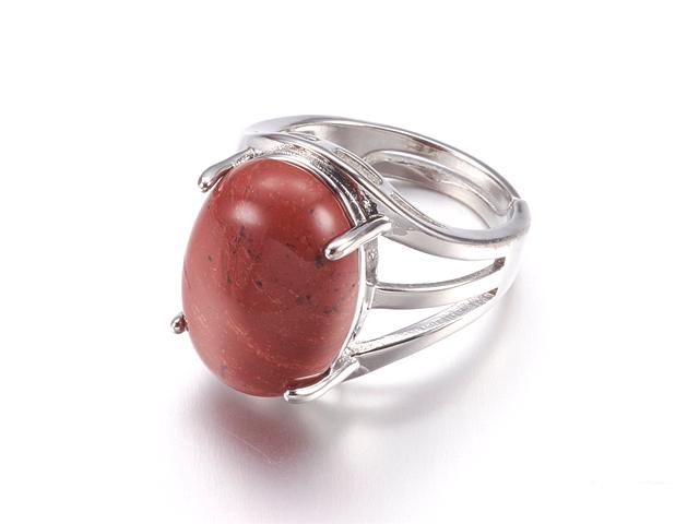 Nastaviteľný prsteň červený jaspis oválneho tvaru