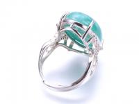 Nastaviteľný prsteň amazonit oválneho tvaru s kryštálikmi