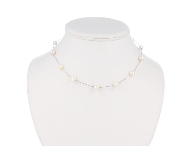 Náhrdelník biele riečne perly AA + Ag925