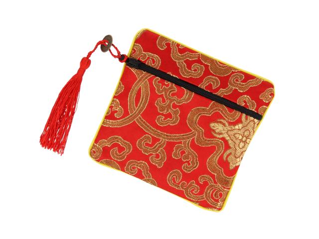 Hodvábne vrecko na zips so strapcom - červené