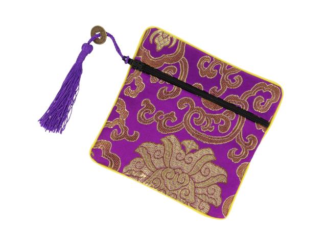Hodvábne vrecko na zips so strapcom - fialové