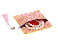 Hodvábne vrecko na zips so strapcom - ružové