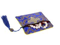 Hodvábne vrecko na zips so strapcom - modré