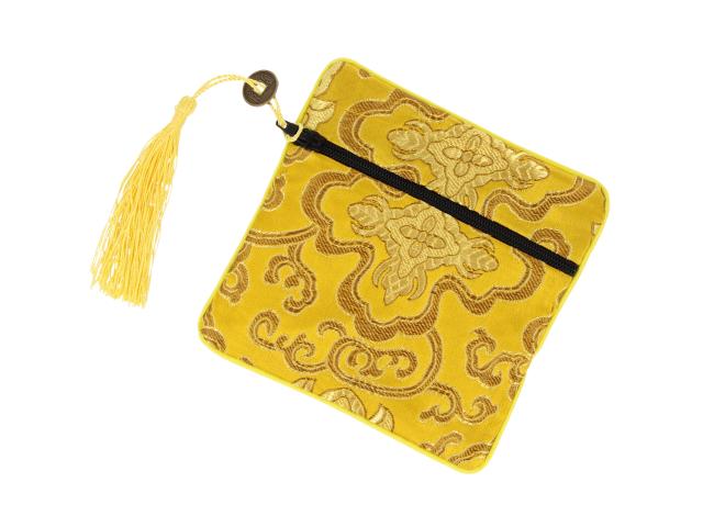 Hodvábne vrecko na zips so strapcom - zlaté