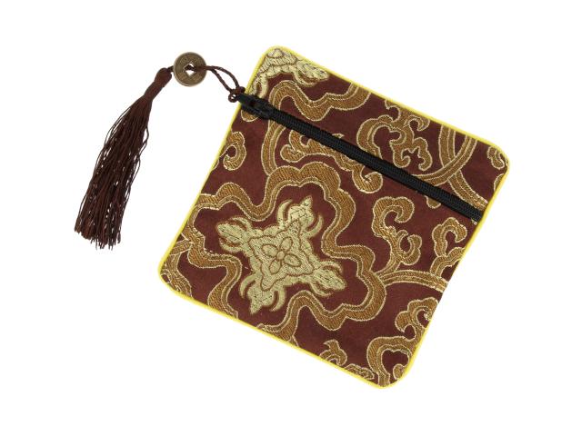 Hodvábne vrecko na zips so strapcom - hnedé