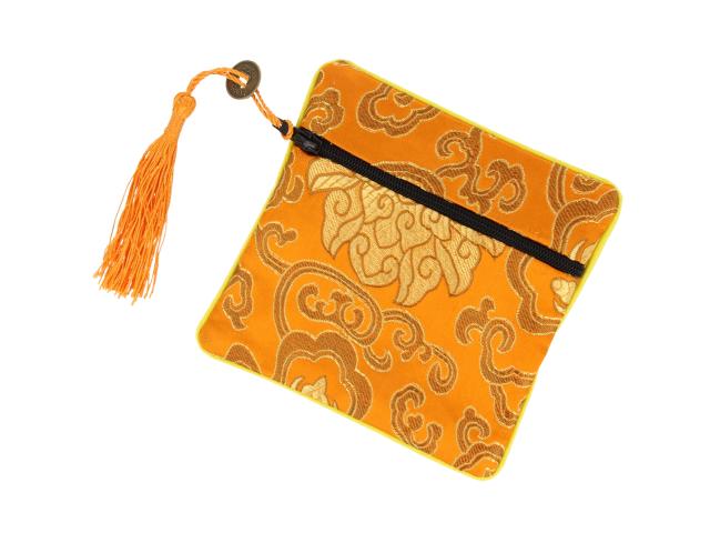 Hodvábne vrecko na zips so strapcom - oranžové