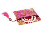Hodvábne vrecko na zips so strapcom - magenta