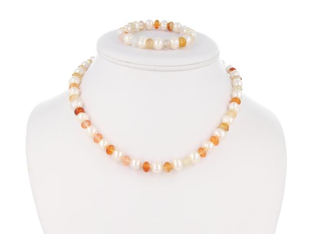Súprava náramok a náhrdelník achát a perly