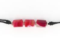Súprava náramok, náhrdelník a náušnice ružový a červený achát