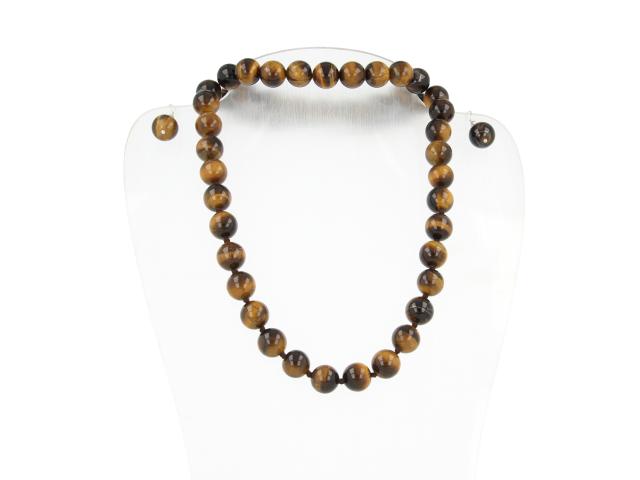 Súprava náhrdelník, náramok a náušnice tigrie oko 12mm
