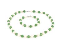 Súprava náramok a náhrdelník biela perla a avanturín