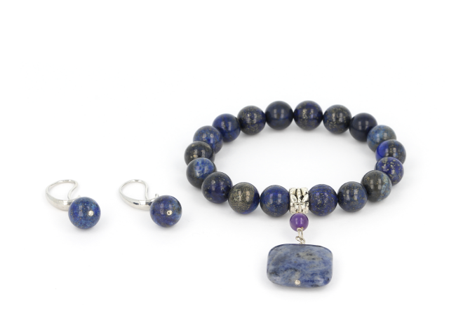 Súprava náramok a náušnice lapis lazuli