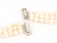 Trojradový náhrdelník biele riečne perly